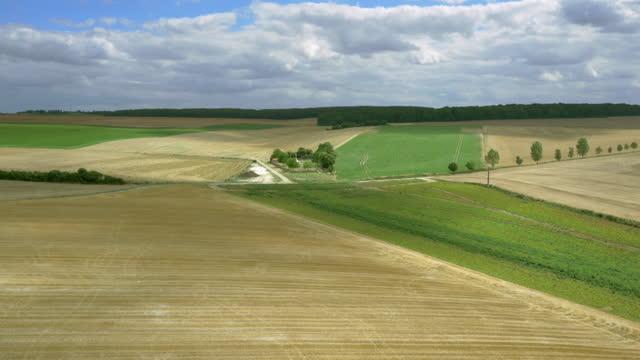 aerial rural farmland, somme region, france - war stock-videos und b-roll-filmmaterial