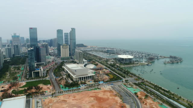 Aerial sailing boat wharf of xiamen exhibition center