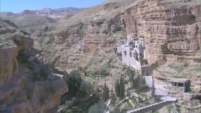 Aerial Saint George Monastery in the Wadi Kelt, Judean desert, Israel