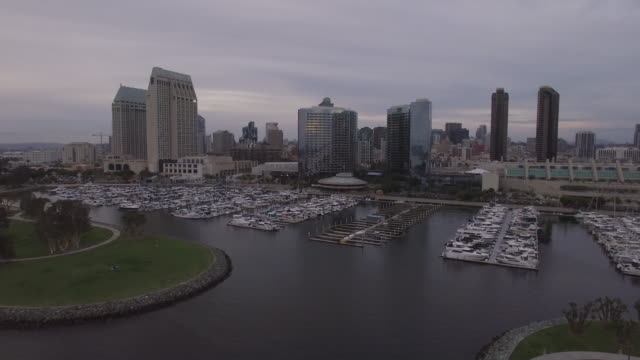 aerial san diego cityscape - marina stock videos & royalty-free footage