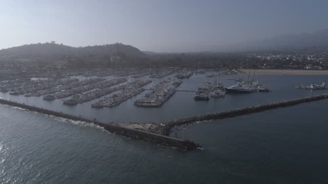 Aerial Santa Barbara Boat Harbor, California