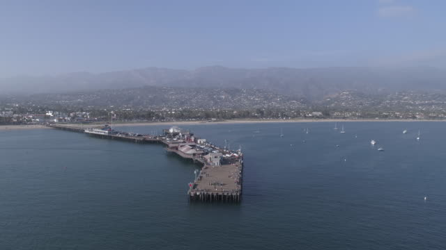 aerial santa barbara pier, california - santa barbara california stock videos & royalty-free footage
