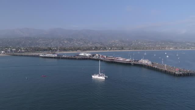 aerial santa barbara pier, california - santa barbara california stock videos and b-roll footage
