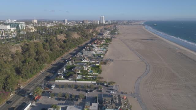 aerial santa monica beach, los angeles - malibu stock videos & royalty-free footage