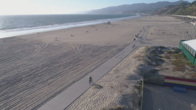 aerial santa monica beach, los angeles - santa monica pier stock videos & royalty-free footage