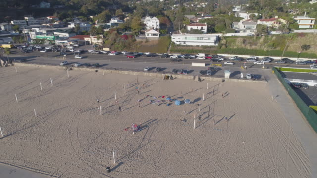 Aerial Santa Monica Beach Volleyball Court, Los Angeles