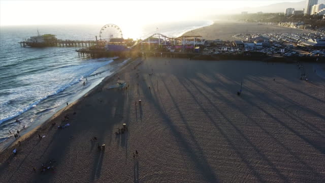 Aerial, Santa Monica pier at sunset