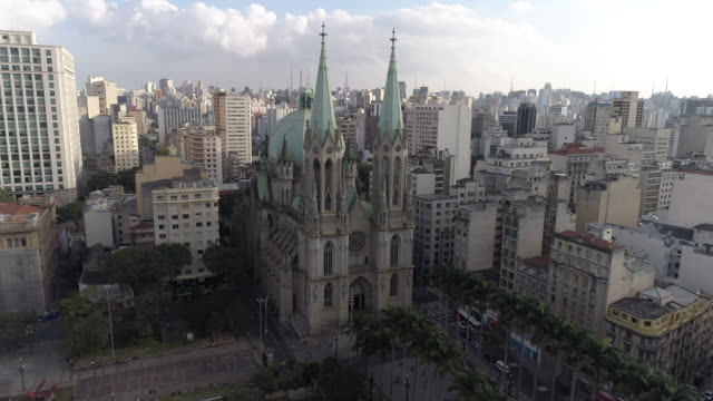 aerial - sao paulo - cathedral stock videos & royalty-free footage