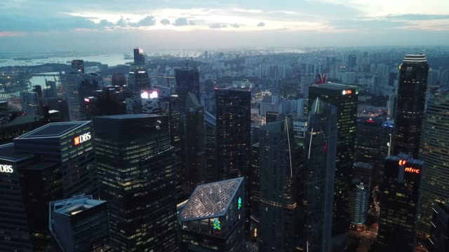 aerial scene of downtown singapore at night - skyline stock videos & royalty-free footage