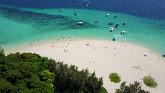 aerial, scenic beach in thailand - krabi province stock videos & royalty-free footage