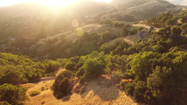 Aerial, scenic Loma Alta mountain landscape in California