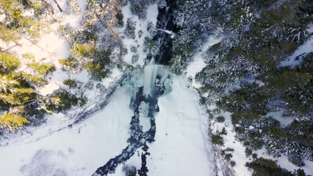 Aerial scenic shot rising above waterfall