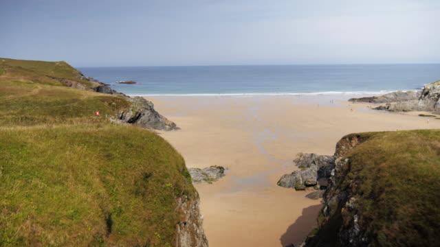 Aerial, scenic UK cliffside beach