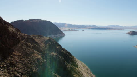 aerial scenic view of lake mead las vegas - nevada stock videos & royalty-free footage