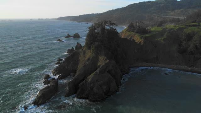 vista panoramica aerea della costa rocciosa dell'oregon vicino a brookings, costa occidentale degli stati uniti. video drone con la fotocamera statica. - oregon stato usa video stock e b–roll