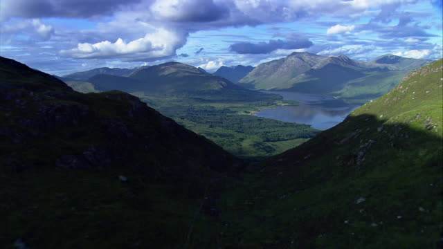 aerial scottish highlands - hill stock videos & royalty-free footage