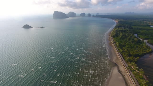 stockvideo's en b-roll-footage met luchtfoto uitzicht op zee, koh mook van trang provincie in de andaman zee, thailand - trang province