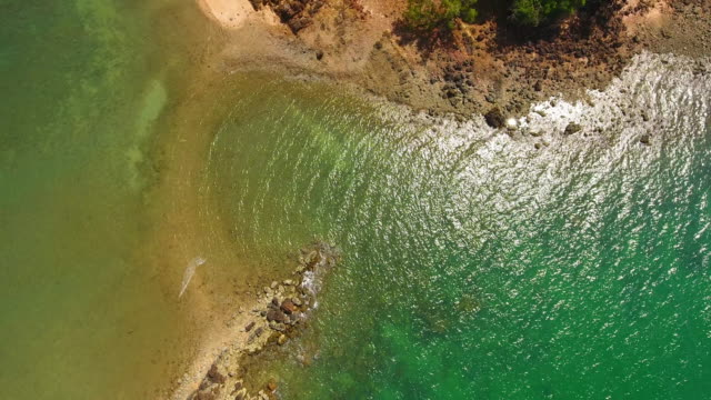 aerial sea view of pakmeng beach  in the andaman sea, thailand - andaman sea stock videos & royalty-free footage