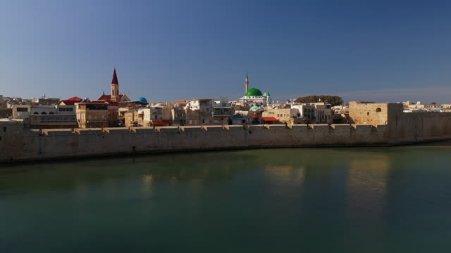 aerial: seaside view in the old city of acre - coastal feature stock videos & royalty-free footage