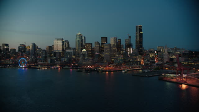 aerial seattle - night - seattle stock videos & royalty-free footage