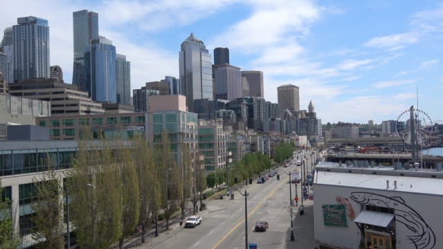 aerial seattle skyline during covid-19 emergency - seattle stock videos & royalty-free footage