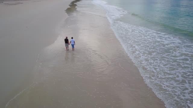aerial senior couple walking sand beach