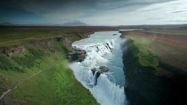 Aerial sequence showing a dramatic Icelandic waterfall.