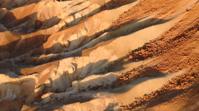 aerial: shadows in the canyons of a desert in negev desert, israel - negev stock videos & royalty-free footage