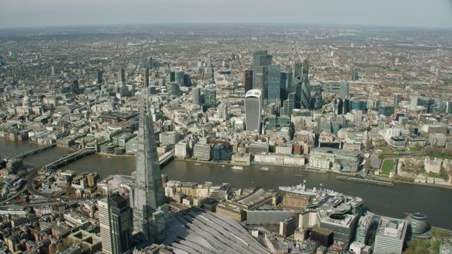 aerial shard and city during coronavirus lockdown london - river thames stock videos & royalty-free footage