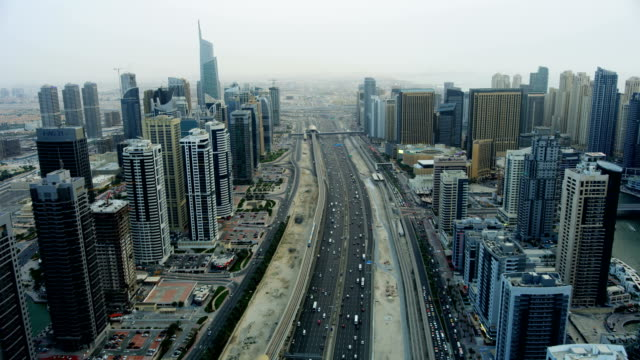 Aerial Sheikh Zayed road city Skyscrapers Dubai