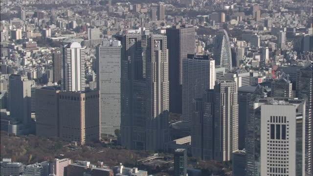 Aerial Shinjuku Skyscrapers In Tokyo