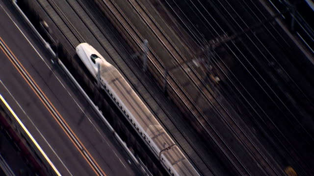 aerial shinkansen tgv bullet train tokyo national railway - bahngleis stock-videos und b-roll-filmmaterial