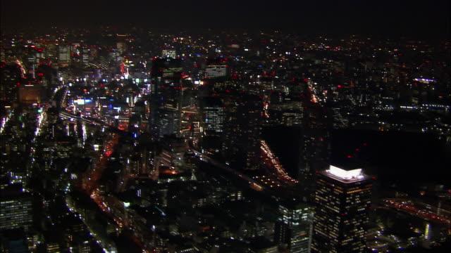 Aerial Shiodome area at night/ Tokyo / November 16, 2005