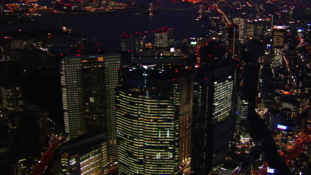 Aerial Shiodome area at night/ Tokyo