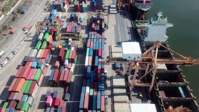 aerial shipping containers - straddle carrier stock videos & royalty-free footage