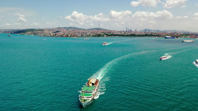 aerial: ships on beautiful bosphorus strait - istanbul, turkey - bosphorus stock videos & royalty-free footage