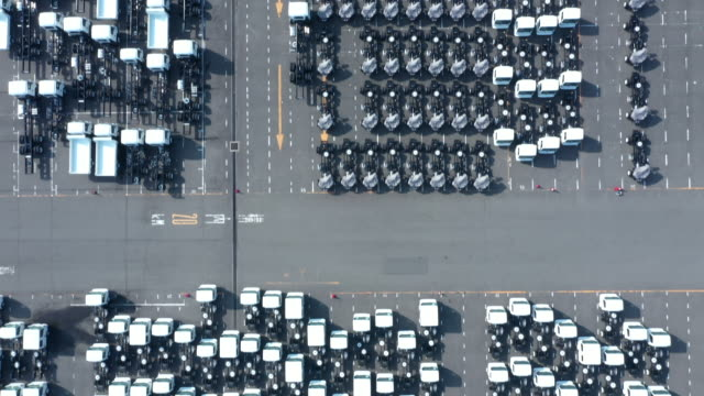 Aerial shoot of many cars before shipment