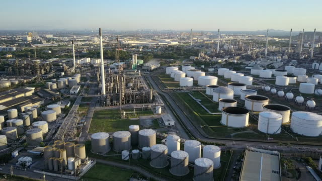 Aerial shoot of Oil refinery factory