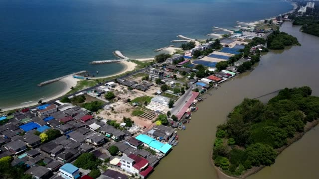 Aerial shoot. Stone wave breaker into the sea at Map ta phut Industrail Estate, Rayong, Thailand