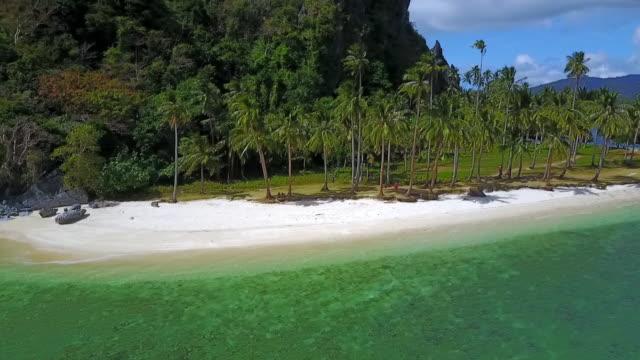 stockvideo's en b-roll-footage met aerial: shore of island with sandy beach and palm trees in palawan, philippines - voor anker gaan