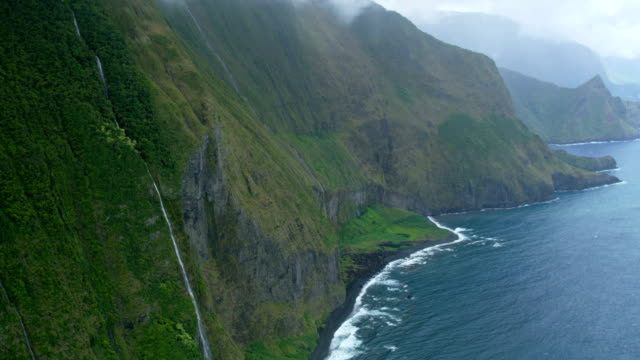 Aerial shoreline view of Kukaiwaa Point Molokai USA