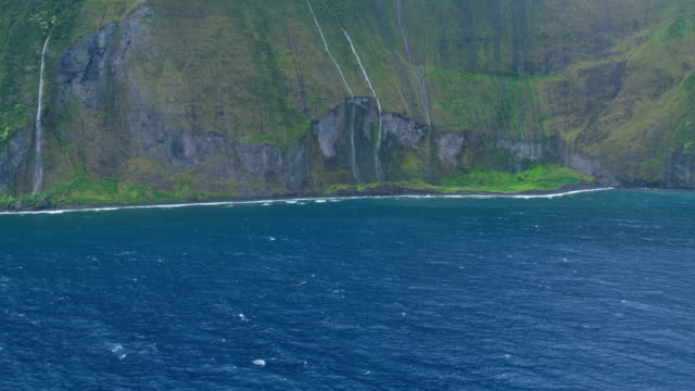 aerial shoreline view of valley waterfalls molokai usa - polynesian ethnicity stock videos & royalty-free footage
