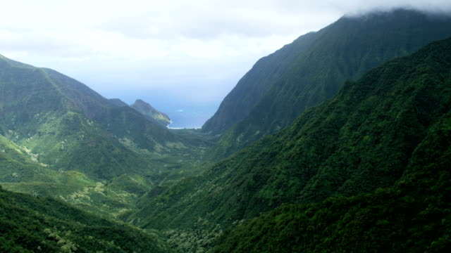 Aerial Shoreline view of valley waterfalls Molokai USA