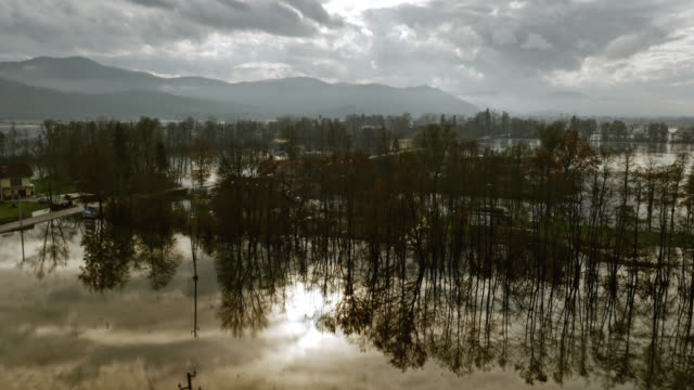 Aerial shot across the flooded valley