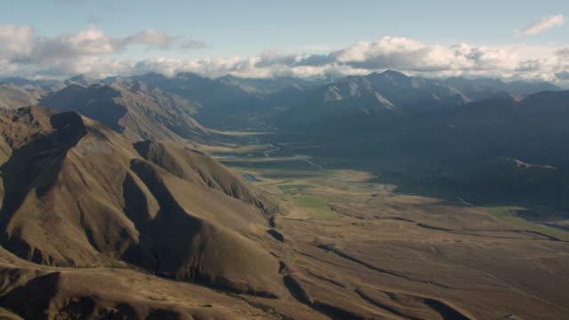 Aerial shot across valley