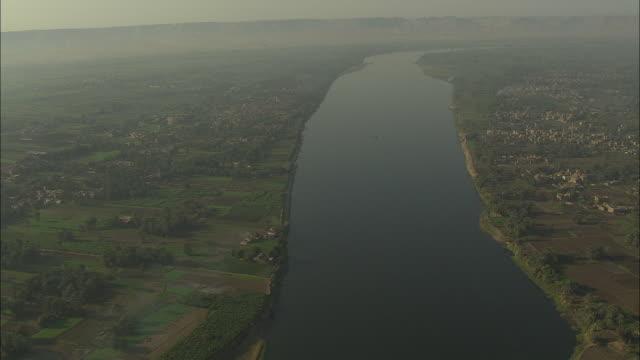 Aerial shot along the Nile River in Egypt
