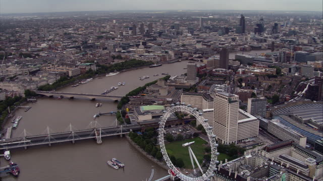 Aerial shot along the River Thames in central London.