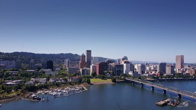 aerial shot approaching portland waterfront - portland oregon stock videos & royalty-free footage