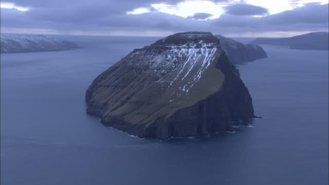 Aerial shot around one of the islands of the Faroe Island archipelago.