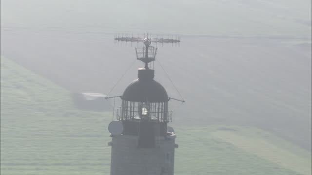 aerial shot around the cap gris nez lighthouse in northern france.  - gris stock videos & royalty-free footage